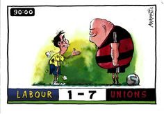 10 July 2014 - referencing the 7-1 defeat of Brazil on the day of the public sector strikes, the unions are holding Ed Miliband to ransom.