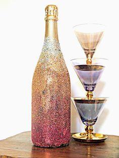 #vintage glasses, #DIY glitter champagne bottle