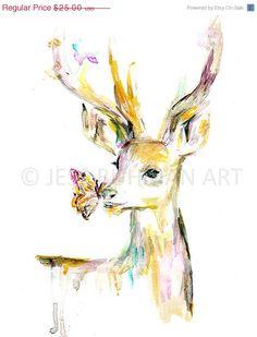 « Stay or, Deer » par Jessica Buhman    8 « x 10 » impression dune aquarelle originale sur un stock de carte blanche lourde et brillante. Seront