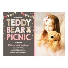 #party - #Teddy Bear Picnic Girl birthday Invitation Pink