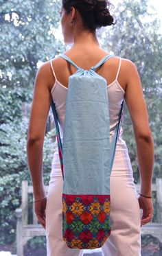 Handmade Yoga Mat Bag with Phulkari Embroidery from Punjab, India (More colors available)