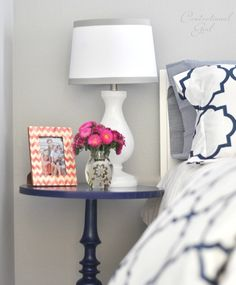 Centsational Girl » Blog Archive » Navy + Coral Bedroom... I really like the navy blue nightstand