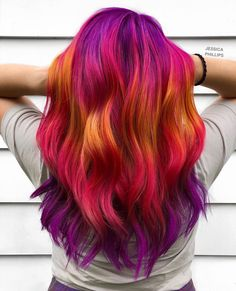 Sep 2019 - AMAZING vivid sunset colored hair by - use our Sunset Pack for a similar look! Pulp Riot Hair Color, Vivid Hair Color, Hair Dye Colors, Cool Hair Color, Amazing Hair Color, Hair Color Ideas, Awesome Hair, Hair Ideas, Bride Hairstyles