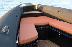 Rigid-inflatable hull boats (RIB) usually fall into two categories. They are either sporty looking and fast but with little or no comfort (or storage Hull Boat, Rib Boat, Sport Boats, Boat Seats, Inflatable Boat, Mens Gear, Motor Boats, Ribs, Sailing