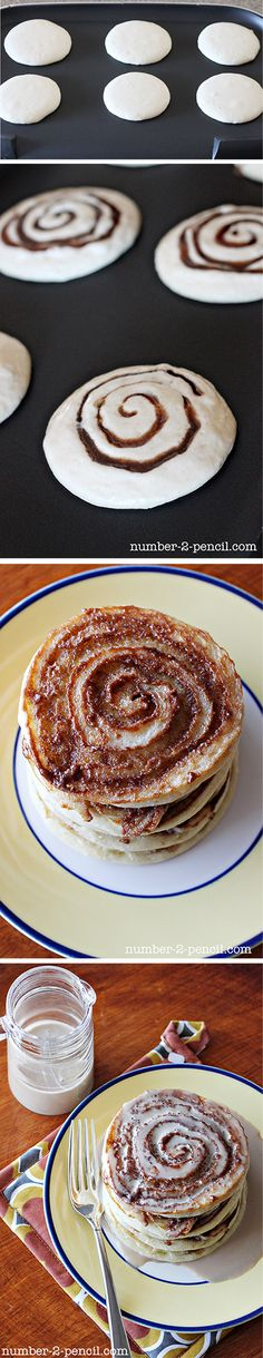 Cinnamon Roll Pancakes  (for the icing, mix 1 cup confectioner's sugar, 1/2 tsp softened butter, and a little milk to thin)