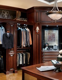 The Hunt Club Valet custom closet by Wood-Mode is a timeless, elegant choice for… Wardrobe Design, Built In Wardrobe, Wood Mode, Dressing Room Design, Dressing Rooms, Showroom, Beautiful Closets, Men Closet, Master Bedroom Closet