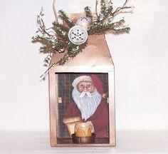 Santa Metal Candle Lantern Hand Painted Primitive Folk Art Christmas Decor RJPE