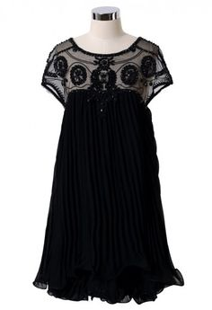 Beads Embellished Pleated Dolly Dress in Black