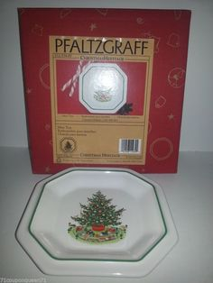 Pfaltzgraff Christmas Heritage Mint Candy Nut Tray New in Original Package #Pfatzgraff