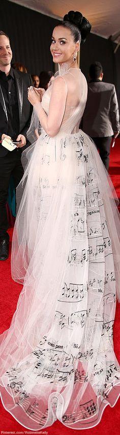 Photographed (in Valentino Haute Couture) at the 56th Annual Grammy Awards, January 26, 2014