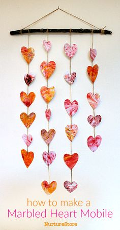 Easy Valentine craft :: homemade heart mobile - NurtureStore day crafts for seniors Create a beautiful homemade heart mobile Kinder Valentines, Valentine Crafts For Kids, Valentines Day Activities, Homemade Valentines, Valentine Box, Valentine Wreath, Valentine Ideas, Art And Craft Videos, Easy Arts And Crafts