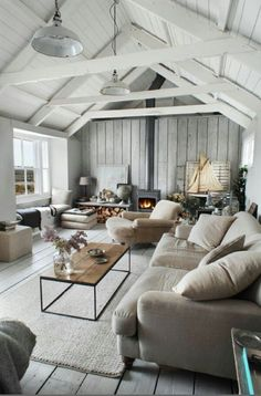 Neutral cottage interior with a hint of modern...I approve :)