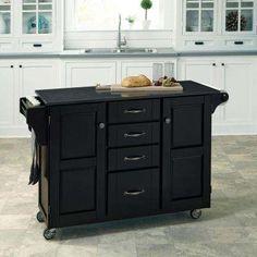 Create-a-Cart Black Kitchen Cart With Quartz Top