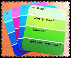 Upcycled Education: Paint swatch activities. Cool for notebooks. Got to go steal some ASAP.