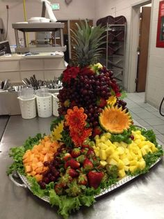 a fruit display my girlfriend made at work today