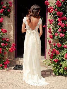 Tüll Applikation Spitze V-Ausschnitt A-Linie Brautkleid & casual Hochzeitskleider
