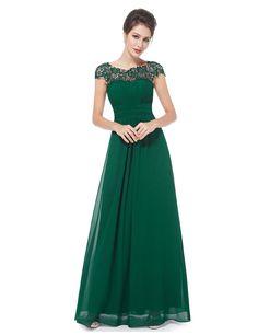 Langes Chiffon-Abendkleid mit Spitze in Grün