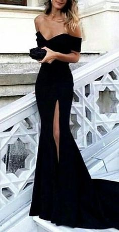 #fall #outfits women's black off-shoulder side slit long gown