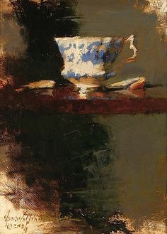 Title unknown (teacup on tray) by American painter George William Allen (b.1948). via art stack