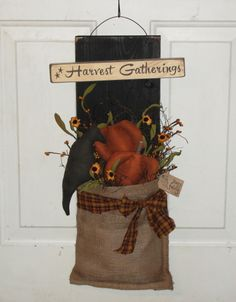Primitive Fall Harvest Gatherings Crow and Pumpkin Burlap Wall Board