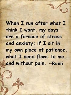 When I run after what I think I want my days are a furnace of stress and anxiety; if I sit in my own place of patience what I need flows to me and without pain.  Rumi.