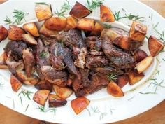 Slow-Roasted Lamb Shoulder from Marc Vetri's Rustic Italian Food Slow Roast Lamb, Slow Cooked Lamb, Lamb Recipes, New Recipes, Cooking Recipes, Favorite Recipes, Dinner Dishes, Main Dishes, Lamb Shoulder