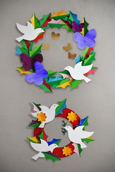 Make: A Watercolor Peace & Love Paper Wreath - barley & birch Use watercolor washes on our free templates to create this lovely handmade peace and love DIY paper wreath. Wreath Crafts, Diy Wreath, Flower Crafts, Paper Wreaths, Christmas Crafts For Kids, Christmas Art, Peace Crafts, Remembrance Day Art, Bird Nest Craft