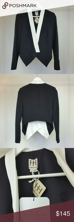 HAUTE HIPPIE black/white tuxedo cropped blazer Save $300 (60%)  Beautifully tailored cropped tuxedo blazer with contrast sateen lapels and single button closure. Decorative welt pockets. Long sleeves w/ constructed shoulders and 5-button cuffs. Fabric 1: 63% polyester, 33% rayon, 4% spandex. Fabric 2: 82% triacetate, 18% polyester. Lining: 100% polyester. Color: black with off-white lapel  Brand new. Never worn. Can provide more pictures and info upon request. Reasonable offer only! ;) Haute…