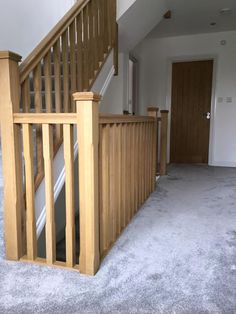 """Our customer Richard said: """"Thank you all at Shaw Stairs for a top quality staircase, built to our specifications. Great help with design, fast production time and easy to install on site. Looking forward to working with you again soon. Staircase Banister Ideas, Wood Railings For Stairs, Stair Spindles, Stair Banister, Oak Stairs, House Stairs, Staircase Design, Bannister, Stair Newel Post"""