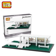 LOZ Famous Architecture Series Farnsworth House Model Mini Building Blocks Assembled Children Educational Toys Christmas Gifts
