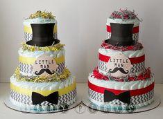 9 Color Designs - Little Man Diaper Cake, Mustache Baby Shower , Mustache Party , Baby Shower Decorations