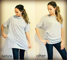 Trash To Couture: Old Mens T-shirt Sewn Into Women's Dolman Tee