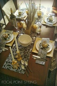 Table textiles like runners & napkins are an affordable way to add a chic look to your Thanksgiving or Winter  table - So many affordable textiles to make your own mix at HomeGoods! #HomeGoodshappy Lynda Quintero-Davids #HappyByDesign