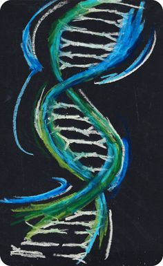 DNA double helix - oil pastels (365 day art project)