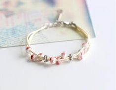 Handwoven Bracelet with Ceramic Beads Metal Bracelets, Handmade Bracelets, Beaded Bracelets, Ceramic Pendant, Ceramic Beads, Aries, Mint, Geometric Necklace, Strand Bracelet