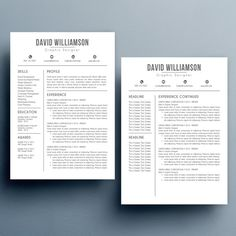 resume template cv template with cover letter and reference letter for word modern resume instant digital download mac or pc