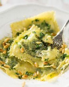 Ravioli met ricotta en spinazie