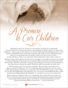 A Promise to Our Children | Values to Live By | www.FrankSonnenbergOnline.com