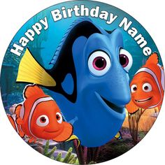EDIBLE Finding Nemo / Dory wafer cake topper birthday Party personalized round