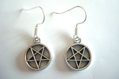 BNWOT  Dark Silver Tone Wiccan Pentagram Pentacle Dangle Drop Earrings found at outofthefireuk on ebay.co.uk