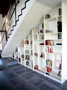 amazing under stairs storage ideas white bookshelves gray floor tiles