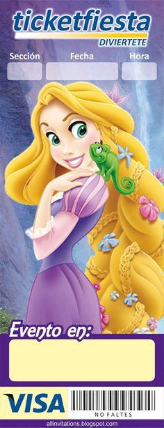 Plantilla invitación Ticketmaster Princesa Rapunzel: