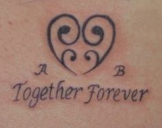 """2 years ago I lost my twin sister. This tattoo uses the heart to represent 2 babies together, and the """"A"""" is for my name, and the """"B"""" is for her's.  She will always be with me <3    #twins #tattoo #together #missher"""