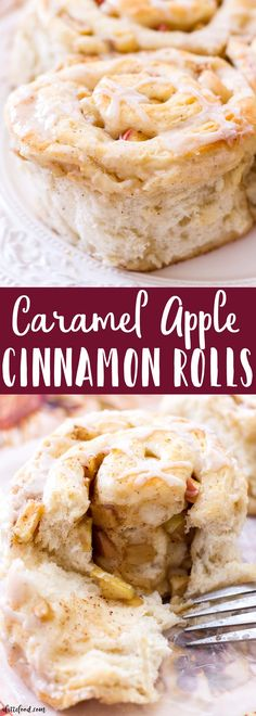 These homemade cinnamon rolls are full of cinnamon apples and rich caramel flavor. These Caramel Apple Cinnamon Rolls make the perfect fall breakfast, as they taste amazing and are such an easy cinnamon roll recipe! Perfect for Thanksgiving too! #recipes #thanksgiving #fall #apple #desserts
