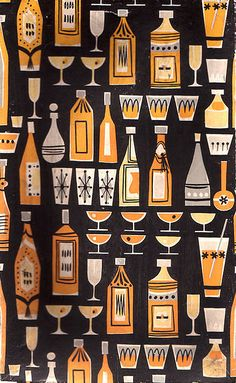 Mid-Century style pattern (designer unknown) - originally seen on cocktail shaker packaging http://www.flickr.com/photos/linzie/155640852/in/photostream also available as a print http://www.greatbigcanvas.com/view/cocktails-and-liquor-bottle-pattern,1040313/