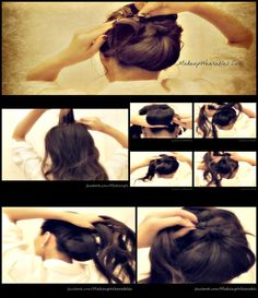 step-by-step video hair tutorial - how to do a voluminous bun/chignon updo hairstyle for formal occasion - wedding, , homecoming, holidays for medium long hair         hair     -tutorial -dos