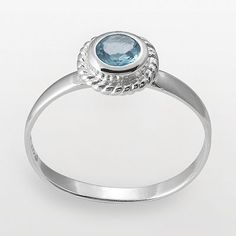 Sterling silver aqua glass ring