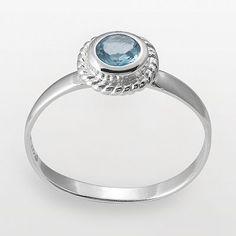 Sterling silver aqua glass ring