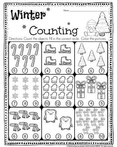 FREE Kindergarten Counting Worksheet - Count the objects, and fill in the…