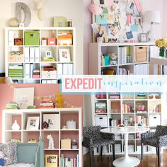 Expedit Inspiration via @Michelle   Hey Love Designs ~ so many ideas for my office!